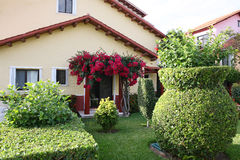Casa con il giardino tropicale. fotografia stock libera da diritti