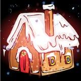 Casa con il Natale fondo ed il vettore della cartolina d'auguri Illustrazione Vettoriale