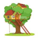 Casa con la escalera en el ejemplo verde del vector del árbol en un fondo blanco libre illustration