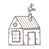Casa con la hoja como humo de la chimenea Imagen de archivo