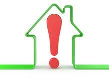 Casa con la marca de exclamación ilustración del vector