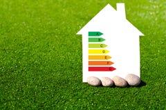 Casa con la muestra del ahorro de la energía en un fondo de la hierba Fotos de archivo libres de regalías