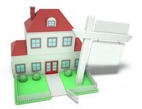 Casa con la muestra en blanco stock de ilustración