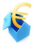 Casa con la muestra euro Imágenes de archivo libres de regalías
