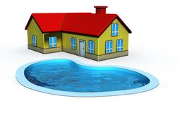 Casa con la piscina Imagen de archivo