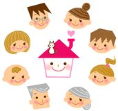 Casa con la sua famiglia Immagine Stock Libera da Diritti