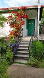 Casa con las flores Fotografía de archivo