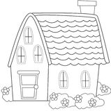 Casa con las plantas que colorean la página Imagen de archivo