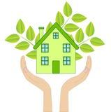 Casa con las plantas verdes en manos en un fondo blanco Imagen de archivo