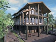 Casa con las vertientes y el garaje de madera Imagen de archivo libre de regalías