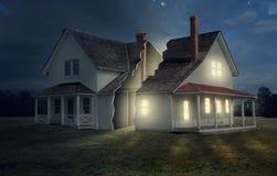Casa con ligero y oscuridad ilustración del vector