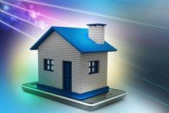 casa con lo Smart Phone Fotografia Stock Libera da Diritti