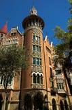 Casa con los chapiteles en la ciudad de Barcelona Fotos de archivo libres de regalías