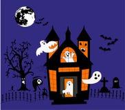 Casa con los fantasmas stock de ilustración