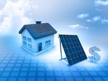 Casa con los paneles solares y la muestra de dólar Imagen de archivo