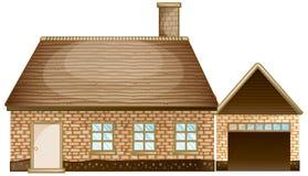 Casa con mattoni a vista con il garage royalty illustrazione gratis