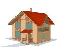 Casa con mattoni a vista, illustrazione Fotografia Stock