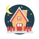 Casa con nieve en Nochebuena Fotografía de archivo libre de regalías