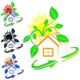 Casa con plantas verdes Imagen de archivo