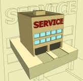 Casa con un servicio de la inscripción Foto de archivo libre de regalías