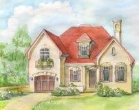 casa con un tetto coperto di tegoli illustrazione vettoriale
