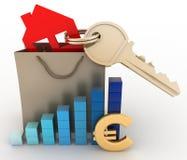 Casa con una llave en una bolsa de papel y un diagrama Fotos de archivo libres de regalías