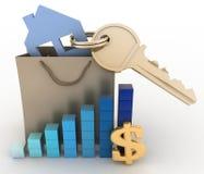 Casa con una llave en una bolsa de papel y un diagrama Imagen de archivo