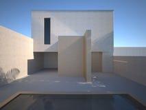 Casa concreta moderna con la piscina Foto de archivo