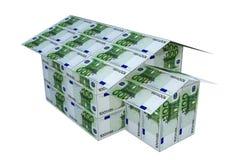 Casa construída das euro- notas, 3D Fotografia de Stock Royalty Free