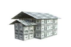 Casa construída das notas do dólar, 3D Fotos de Stock