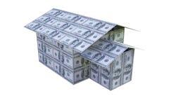 Casa construída das notas do dólar, 3D Imagens de Stock