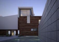 Casa contemporánea moderna exterior en el amanecer Fotografía de archivo libre de regalías