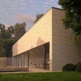 Casa contemporanea del mattone con il giardino Fotografie Stock Libere da Diritti
