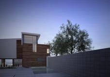 Casa contemporanea moderna esteriore all'alba illustrazione vettoriale