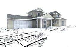 Casa costosa con el garage encendido Imagenes de archivo