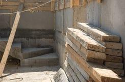 Casa in costruzione dei bordi di legno Immagini Stock Libere da Diritti