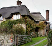 Casa cubierta con paja de la aldea Imagen de archivo