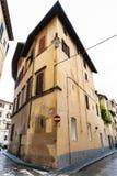 Casa d'angolo sopra via il dell Anguillara a Firenze Immagine Stock