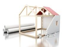 casa 3d branca sob rolos da construção do blueprin da arquitetura Fotografia de Stock Royalty Free