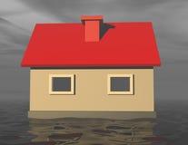 casa 3d che affonda in acque di inondazione Fotografia Stock Libera da Diritti