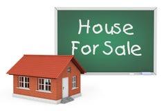 casa 3d com a casa para o quadro-negro do sinal da venda Imagens de Stock