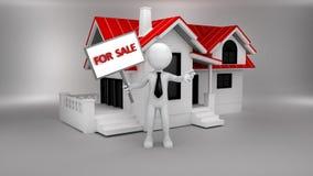 casa 3d con la pubblicità dell'uomo d'affari da vendere Fotografie Stock