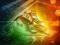 casa 3d con le note del dollaro Immagini Stock Libere da Diritti