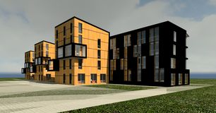 casa 3D da multi-história 3D Imagem de Stock