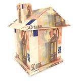 casa 3d dagli euro soldi Fotografia Stock Libera da Diritti