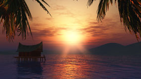 casa 3D en un lago en la puesta del sol Imagen de archivo libre de regalías
