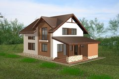 A casa 3D rende Fotografia de Stock Royalty Free