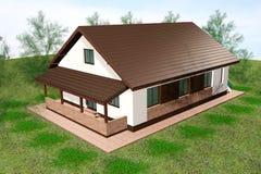 A casa 3D rende a vista aérea Fotos de Stock