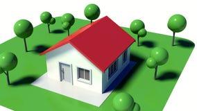 casa 3D y yarda Foto de archivo