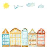 Casa da aquarela, nuvens, avião ilustração stock